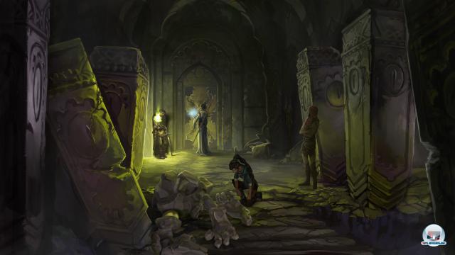In der ersten Rückblende versuchen die Prinzessin und ihre Mitstreiter in eine Jahrhunderte alte Gruft einzubrechen.