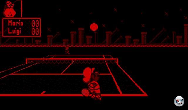 <b>Mario's Tennis</b> <br><br> Nur 22 Spiele wurden in der acht Monate kurzen Lebensspanne veröffentlicht. Ein klares Highlight ist Mario's Tennis, welches in den USA der Konsole beilag. Anders als in späteren Serienteilen gibt es hier noch keine verrückten Spezialschläge, trotzdem gestalten sich die arcadelastigen Matches sehr spannend. Außerdem kommt der räumliche Effekt gut zur Geltung: Schon im Intro zischt die Filzkugel dem Spieler entgegen und prallt direkt vor seiner Nase an der Kamera ab. Die zweidimensionalen Figuren erinnern dagegen an animierte Pappaufsteller. Auch in vielen anderen Titeln kamen platte Sprites statt Vektoren oder Polygonen zum Einsatz. 2211707