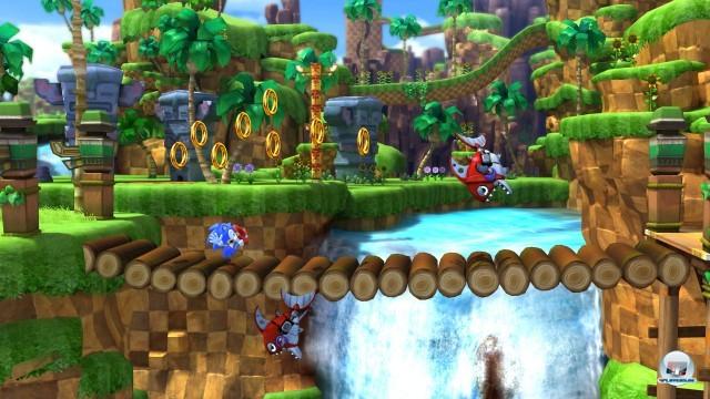 Ganz der Alte: Hier flitzt der klassische Sonic durch Greenhill...